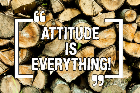 Text sign showing Attitude Is Everything. Conceptual photo Motivation Inspiration Optimism important to succeed Wooden background vintage wood wild message ideas intentions thoughts Reklamní fotografie