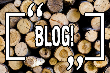 Word writing text Blog. Business concept for Preperation of catchy content for blogging websites Wooden background vintage wood wild message ideas intentions thoughts 版權商用圖片