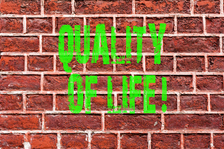 Word writing text Quality Of Life. Business concept for Good Lifestyle Happiness Enjoyable Moments Wellbeing Brick Wall art like Graffiti motivational call written on the wall Stock fotó