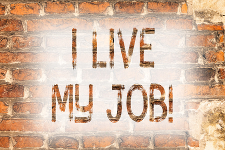 Writing note showing I Live My Job. Business photo showcasing Be immerse in and love the Work Enjoy Business Love Job Brick Wall art like Graffiti motivational call written on the wall