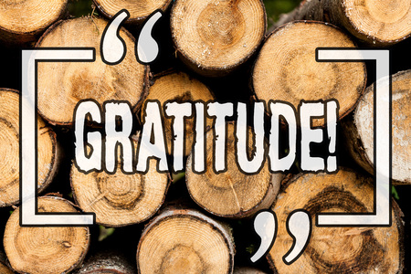 Word writing text Gratitude. Business concept for Quality of being thankful Appreciation Thankfulness Acknowledge Wooden background vintage wood wild message ideas intentions thoughts
