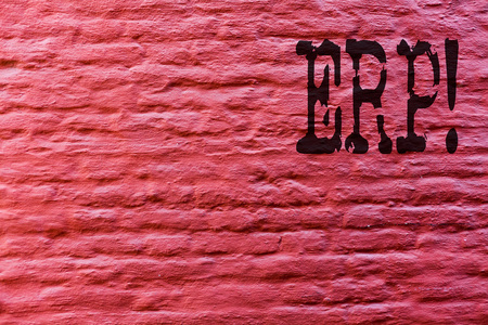 Conceptual hand writing showing Erp. Business photo text Enterprise resource planning with automate back office functions Brick Wall art like Graffiti motivational call written on the wall