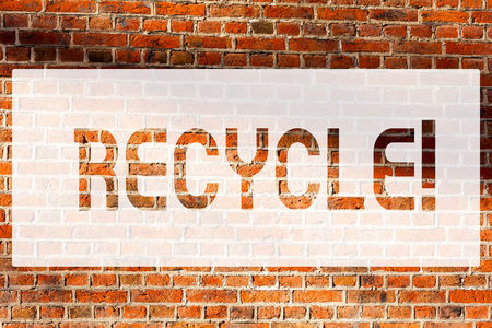 Text sign showing Recycle. Conceptual photo Converting waste into reusable material Brick Wall art like Graffiti motivational call written on the wall Фото со стока