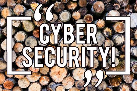 Handwriting text writing Cyber Security. Concept meaning Online prevention of attacks Viruses Encrypt Information Wooden background vintage wood wild message ideas intentions thoughts