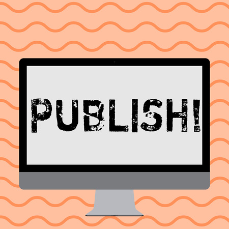 Writing note showing Publish. Business photo showcasing Make information available to showing Issue a written product