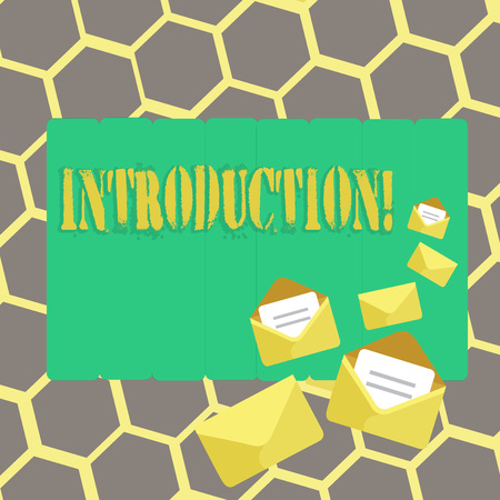 Text sign showing Introduction. Conceptual photo First part of a document Formal presentation to an audience Stockfoto