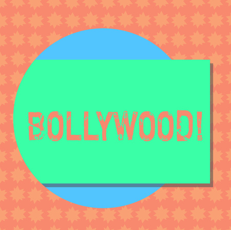 Writing note showing Bollywood. Business photo showcasing Indian cinema a source of entertainment among new generation Rectangular Color Shape with Shadow Coming Out from a Circle Stock Photo