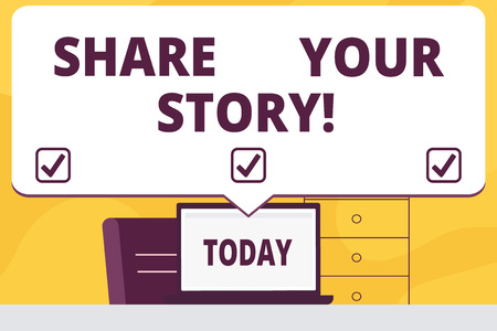 Word writing text Share Your Story. Business concept for Tell demonstratingal experiences talk about yourself Storytelling Banque d'images - 118028059