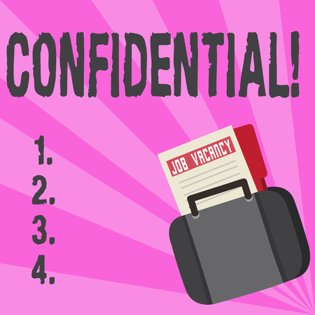 Conceptual hand writing showing Confidential. Business photo text Agreements between two parties are private and protected