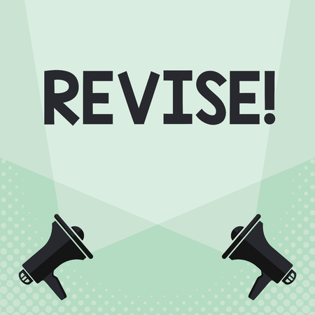 Conceptual hand writing showing Revise. Business photo text Reconsider something to improve it Review