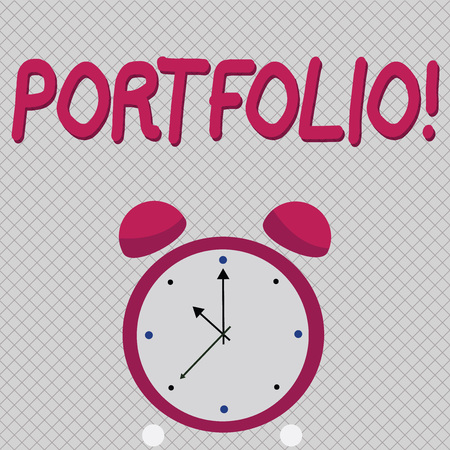 Word writing text Portfolio. Business concept for Examples of work used to apply for a job Combination of shares 免版税图像