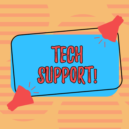 Word writing text Tech Support. Business concept for Help given by technician Online or Call Center Customer Service Two Megaphone with Sound icon on Blank Color Outlined Rectangular Shape