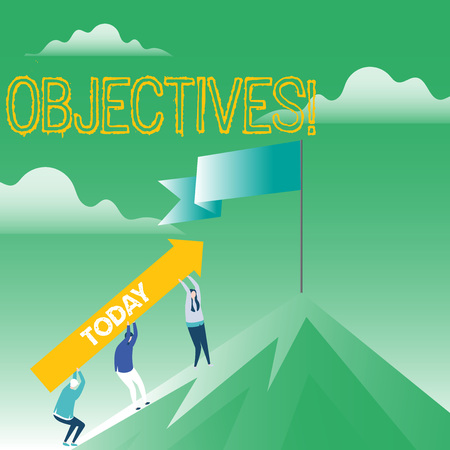 Writing note showing Objectives. Business photo showcasing Goals planned to be achieved Desired targets