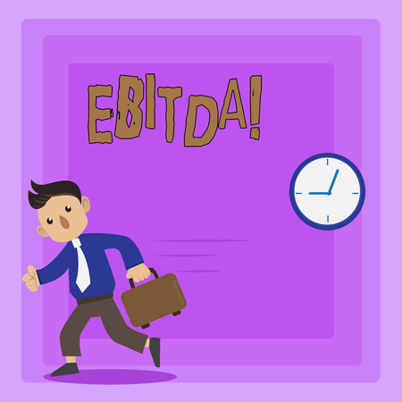 Writing note showing Ebitda. Business photo showcasing Earnings before tax is measured to evaluate company perforanalysisce