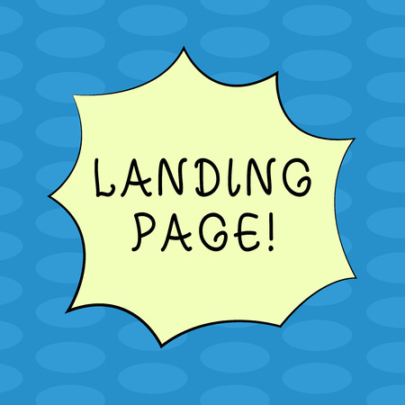 Word writing text Landing Page. Business concept for Website accessed by clicking a link on another web page Blank Color Explosion Blast Scream Speech Bubble photo for Promotion Ads