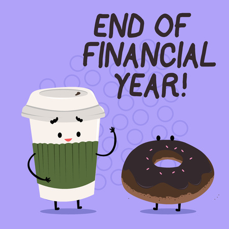 Conceptual hand writing showing End Of Financial Year. Business photo text Taxes time accounting June database cost Sheets Banque d'images - 118030136