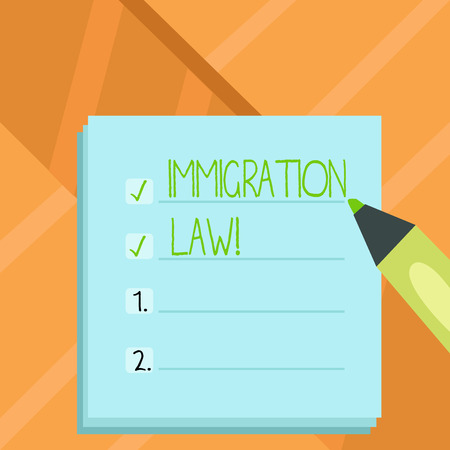 Word writing text Immigration Law. Business concept for National Regulations for immigrants Deportation rules Stok Fotoğraf
