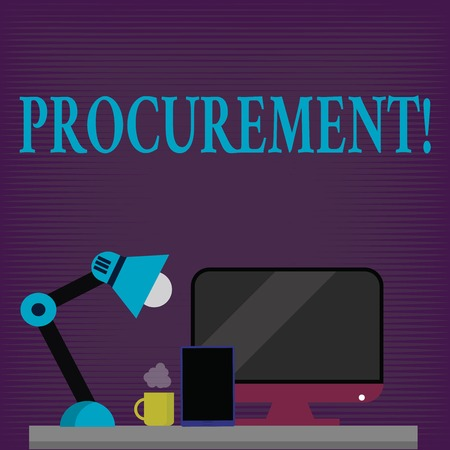 Conceptual hand writing showing Procurement. Business photo showcasing Obtaining Procuring Something Purchase of equipment and supplies