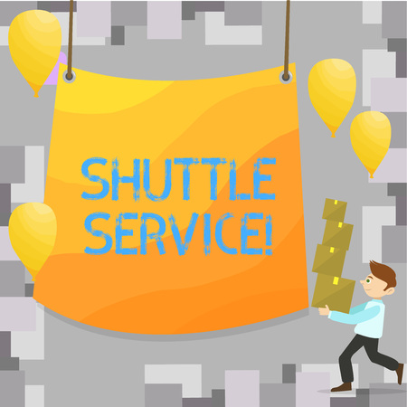 Writing note showing Shuttle Service. Business photo showcasing Transportation Offer Vacational Travel Tourism Vehicle