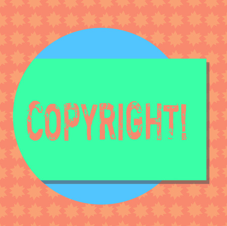 Writing note showing Copyright. Business photo showcasing Saying no to intellectual property piracy Rectangular Color Shape with Shadow Coming Out from a Circle