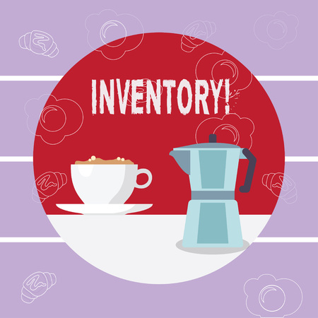 Writing note showing Inventory. Business photo showcasing Complete list of items like products goods in stock properties