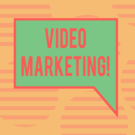 Word writing text Video Marketing. Business concept for Media Advertising Multimedia Promotion Digital Strategy Blank Rectangular Color Speech Bubble with Border photo Right Hand