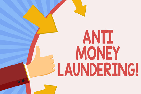 Writing note showing Anti Money Laundering. Business photo showcasing entering projects to get away dirty money and clean it