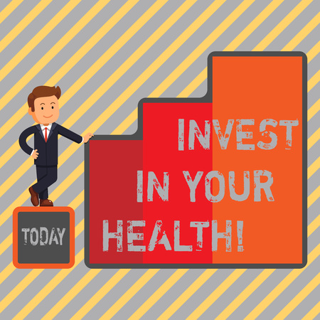 Writing note showing Invest In Your Health. Business photo showcasing Spend money in demonstratingal healthcare Preventive Tests