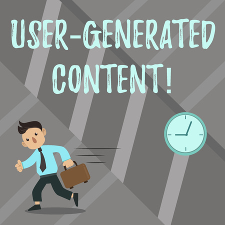 Word writing text User Generated Content. Business concept for Images videos text audio that posted by users