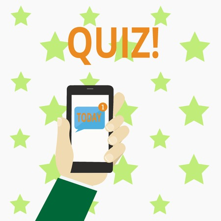Writing note showing Quiz. Business photo showcasing Short Tests Evaluation Examination to quantify your knowledge