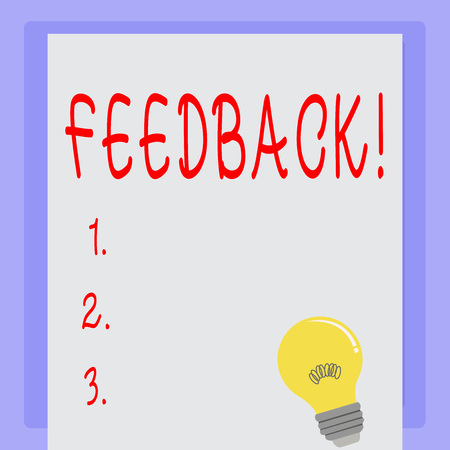 Handwriting text Feedback. Concept meaning Rating an economical local grocery store Standard-Bild - 118045775