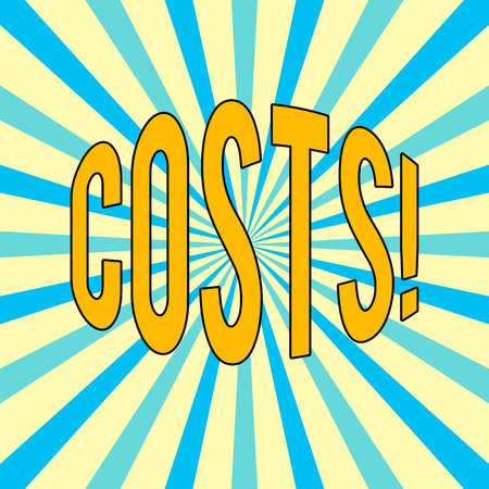 Handwriting text Costs. Concept meaning Finance department showcase the total production calculation Banco de Imagens