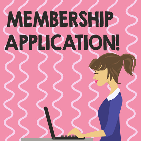 Text sign showing Membership Application. Conceptual photo Registration to Join a team group or organization