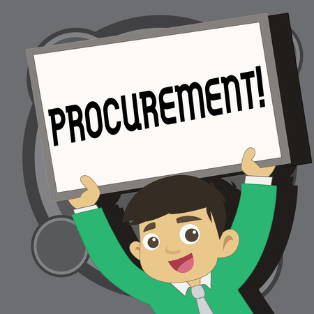 Writing note showing Procurement. Business photo showcasing Obtaining Procuring Something Purchase of equipment and supplies