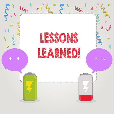 Text sign showing Lessons Learned. Conceptual photo Experiences that should be taken into account in the future 版權商用圖片