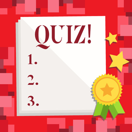 Conceptual hand writing showing Quiz. Business photo showcasing Short Tests Evaluation Examination to quantify your knowledge