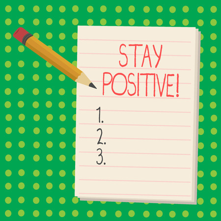 Word writing text Stay Positive. Business concept for Be Optimistic Motivated Good Attitude Inspired Hopeful Stok Fotoğraf - 118080510