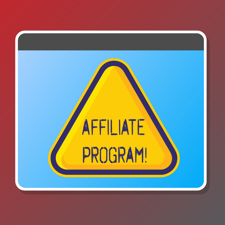 Text sign showing Affiliate Program. Conceptual photo software link songs apps books and sell them to earn money Stock Photo