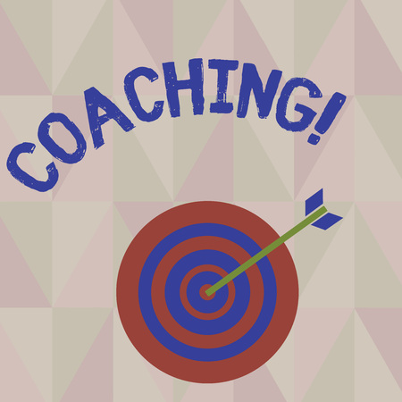 Writing note showing Coaching. Business photo showcasing Tough training begins to imrove your skills