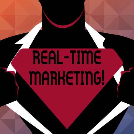 Text sign showing Real Time Marketing. Conceptual photo Creating a strategy focused on current relevant trends