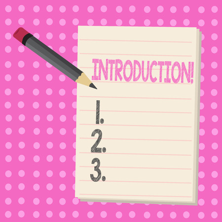 Conceptual hand writing showing Introduction. Business photo text First part of a document Formal presentation to an audience Stockfoto