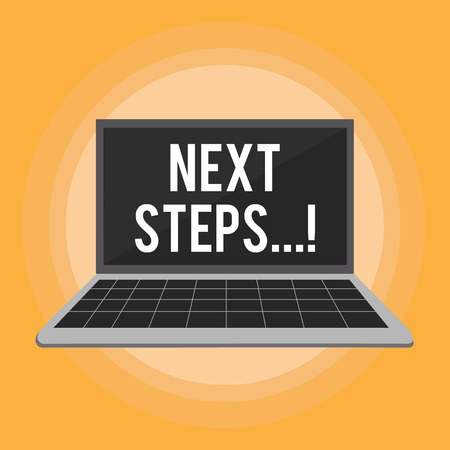 Text sign showing Next Steps. Conceptual photo Following Moves Strategy Plan Give Directions Guideline Stockfoto