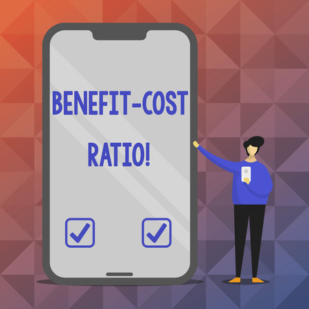 Text sign showing Benefit Cost Ratio. Conceptual photo Relationship between the costs and benefits of project