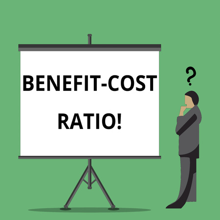 Handwriting text writing Benefit Cost Ratio. Concept meaning Relationship between the costs and benefits of project