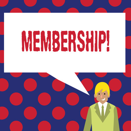 Writing note showing Membership. Business photo showcasing Being member Part of a group or team Join organization company