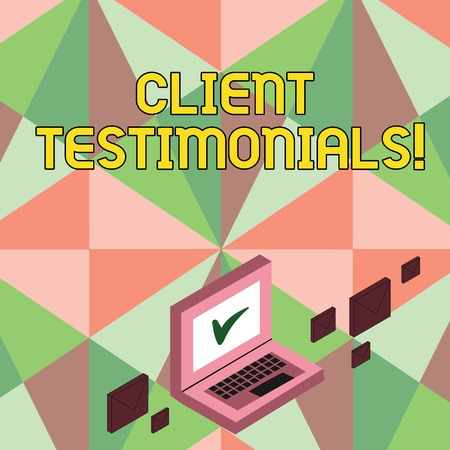 Writing note showing Client Testimonials. Business photo showcasing Customer Personal Experiences Reviews Opinions Feedback