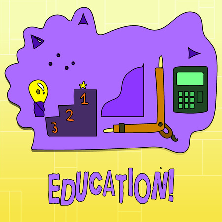 Handwriting text Education. Concept meaning Teaching of students by implementation of latest technology 스톡 콘텐츠