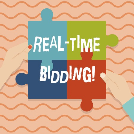 Conceptual hand writing showing Real Time Bidding. Business photo showcasing Buy and sell advertising inventory by instant auctions