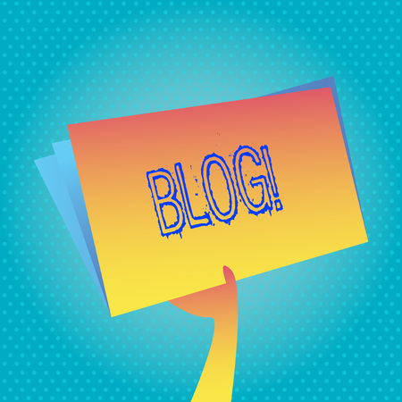 Text sign showing Blog. Conceptual photo Preperation of catchy content for blogging websites 版權商用圖片