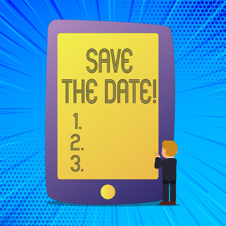 Writing note showing Save The Date. Business photo showcasing Remember not to schedule anything else that time Appointment 写真素材